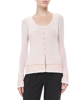 Rena Lange Lace-Trim Knit Cardigan