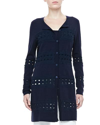 Rena Lange Long Crochet-Detail Cardigan
