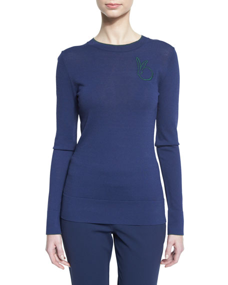 Long-Sleeve Contrast-Tipped Pullover, Marine/Deep Forest