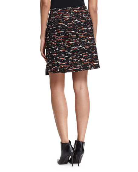 Asymmetric Tweed Wrap Skirt, Multi