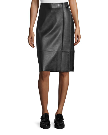 GREY by Jason Wu Paneled Lambskin Pencil Skirt