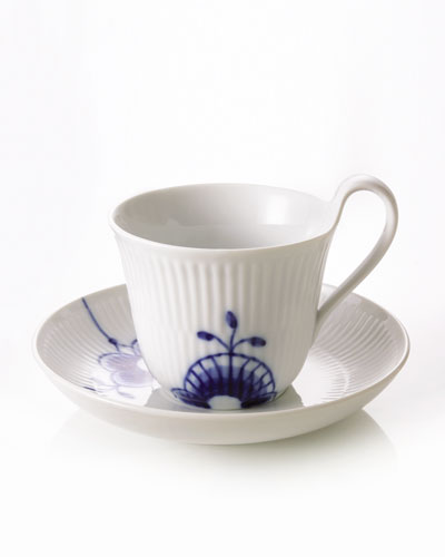 Blue Fluted Mega High Handle Cup & Saucer