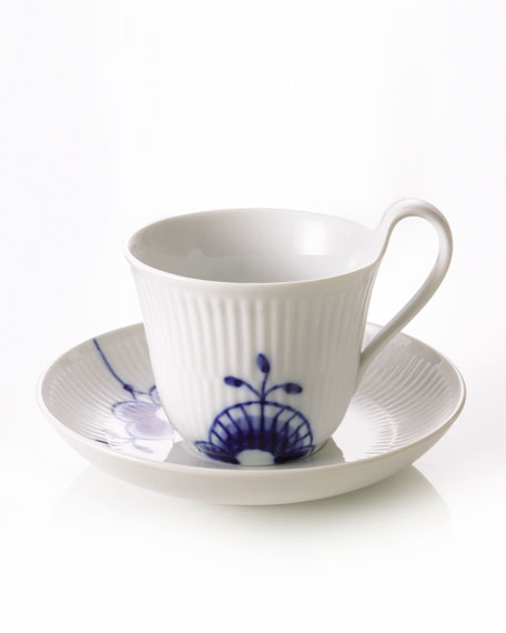 Blue Fluted Mega High Handle Cup & Saucer
