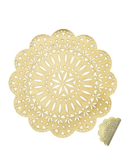 Kim Seybert Gold/Beige Fete Reversible Placemat