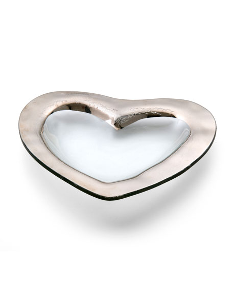 "Roman Antique Platinum 8"" Heart Bowl"
