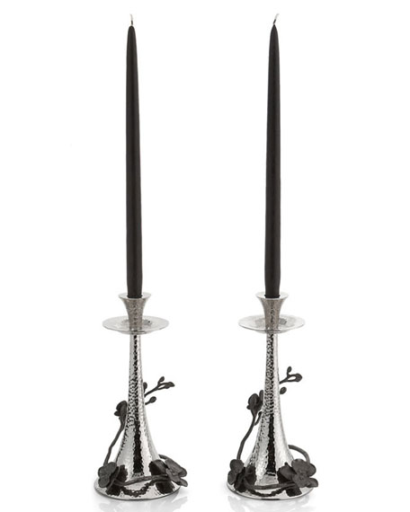 Black Orchid Candleholders, Set of 2