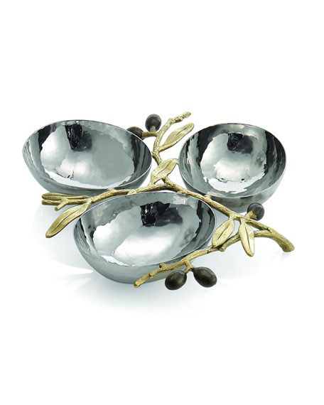 Michael Aram Gold-Tone Olive Branch Three-Section Nut Dish