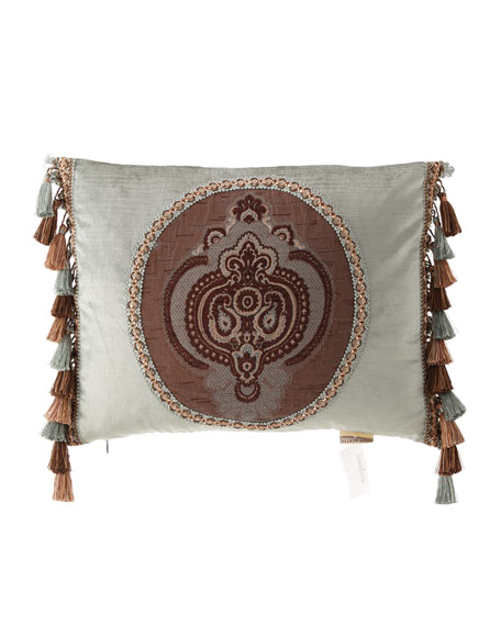"Brompton Court Velvet Medallion Pillow, 14"" x 18"""