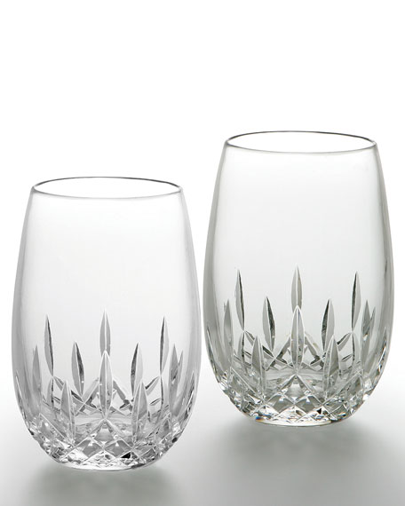 Crystal stemless wine glasses