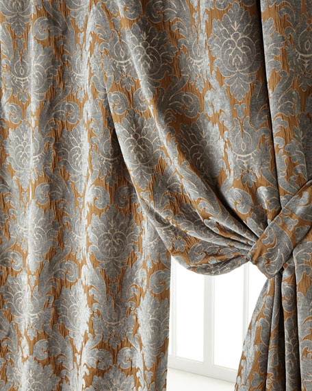 "Two 50""W x 96""L Bella Damask Curtains"