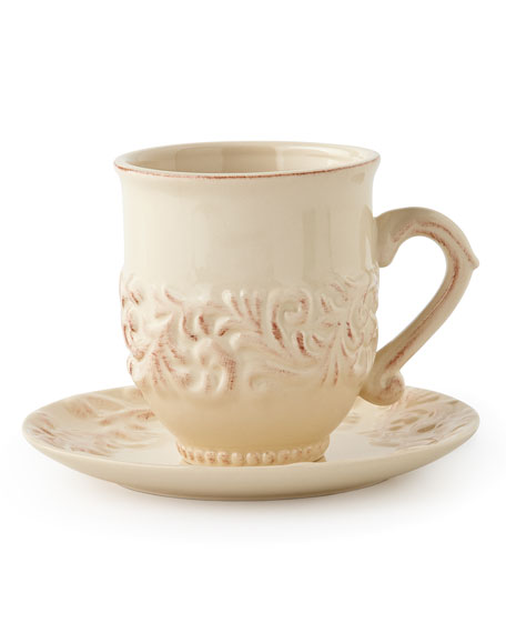 G G Collection Cups & Saucers, Set of 4