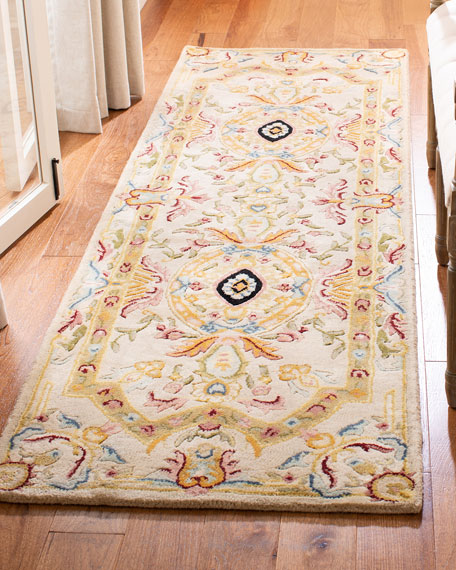 "Feather Medallion Runner, 2'6"" x 12'"