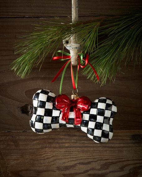"""Courtly Check"" Dog Bone Christmas Ornament"