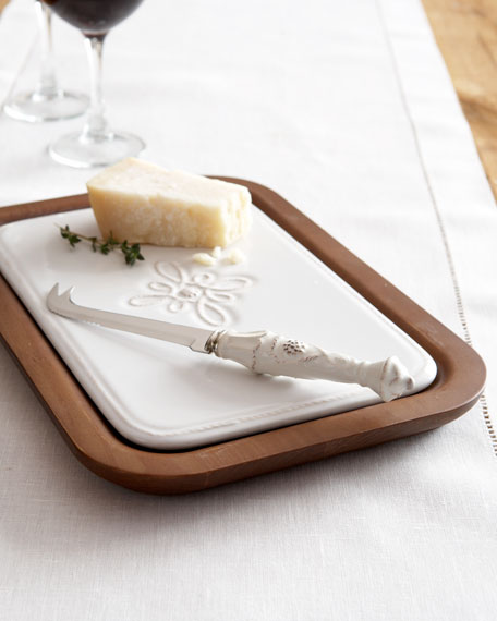 Wood Cheese Board & Knife Set