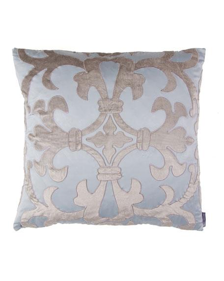 "Lili Alessandra Blue/Silver Olivia Applique Pillow, 22""Sq."