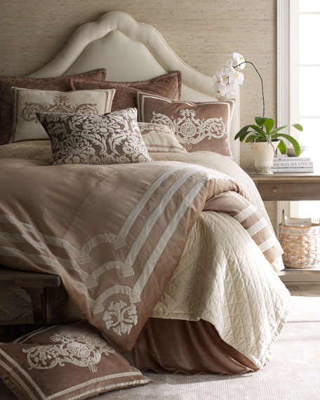 Lili Alessandra King Ivory Sham with Champagne Applique