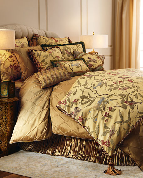"""Austin Horn Collection Chirping Pieced Bird Pillow with Gimp, Braid, & Cording, 18""""Sq."""
