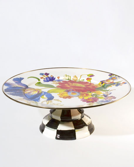 MacKenzie-Childs Large Flower Market Pedestal Platter
