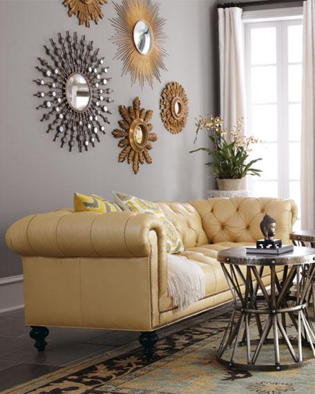 "Morgan Sunshine Leather Chesterfield Sofa 86"""