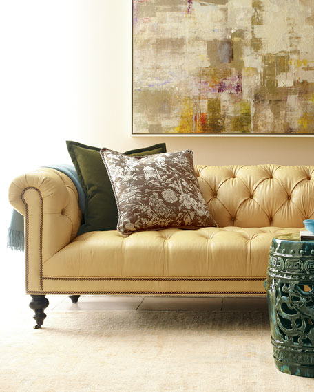 Morgan Sunshine Leather Chesterfield Sofa 86""