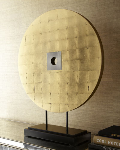 Round Gold-Leaf Sculpture on Stand
