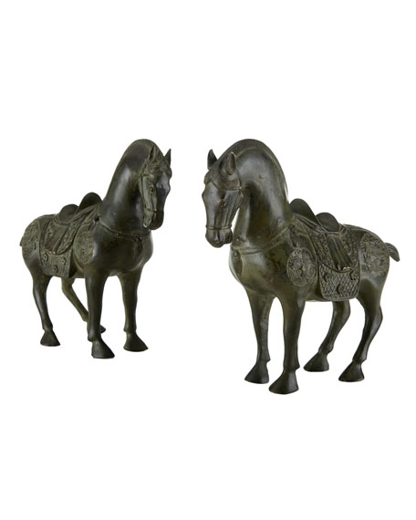 Two Antique Brass Horse Statues