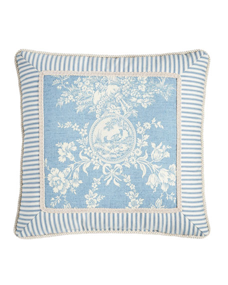"Framed Country Manor Toile-Print Pillow, 18""Sq."