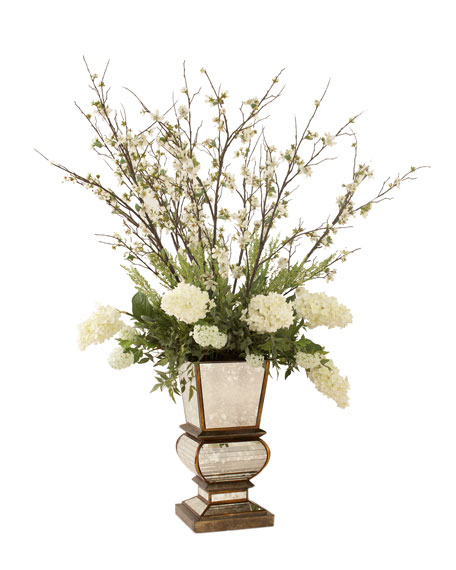 Ivory Arrangement in Mirrored Planter