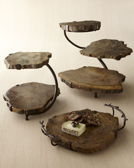 Neiman Marcus Petrified Wood Serving Pieces & Matching