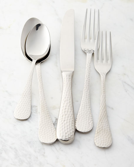 Five-Piece Euro Hammered Flatware Place Setting