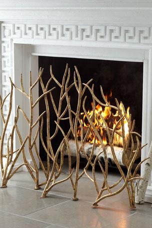 Golden Branch Fireplace Screen