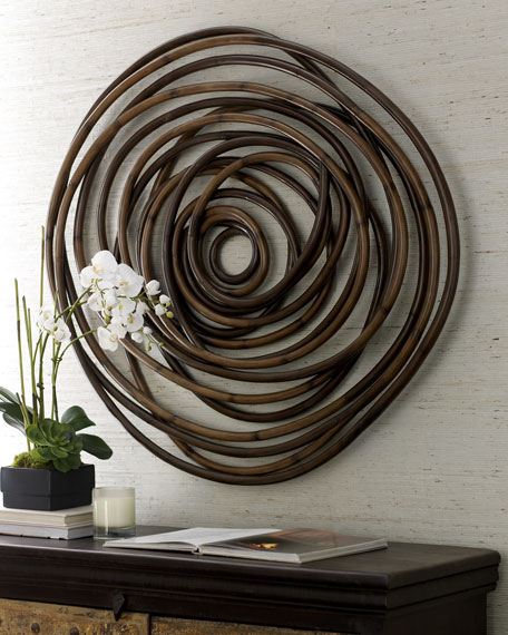 Image 1 of 2: Palecek Wood Swirl Wall Decor