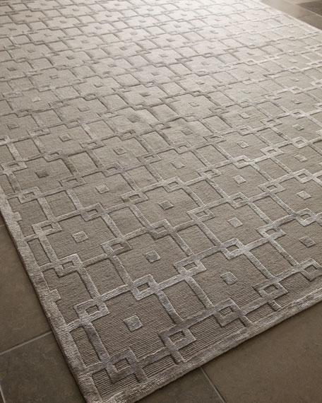 Exquisite Rugs Silver Blocks Rug, 4' x 6'