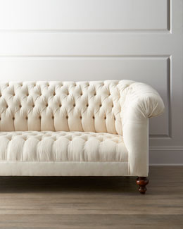 "Old Hickory Tannery ""Ellsworth"" Neutral Tufted Sofa"