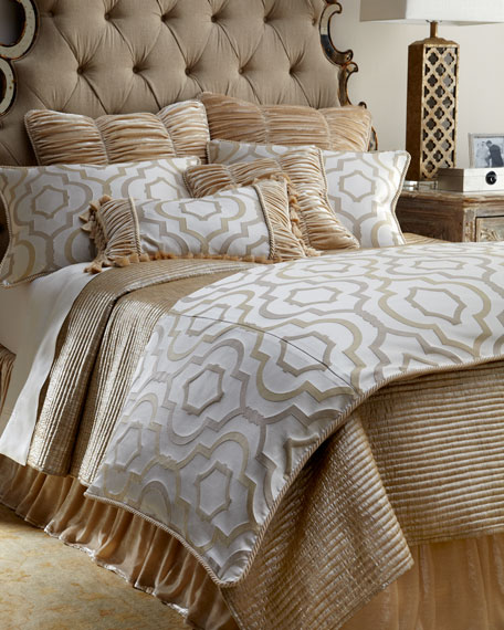 Queen Channel-Quilted Gold Coverlet