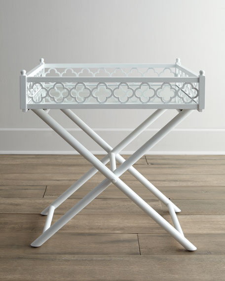 White Fretwork Tray Table