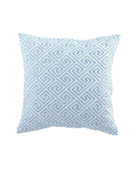 Trina TurkTurquoise Trellis Greek Key Pillow with Embroidery,