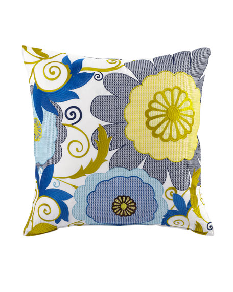 Trina Turk Turquoise Trellis Pillow with Floral Embroidery,