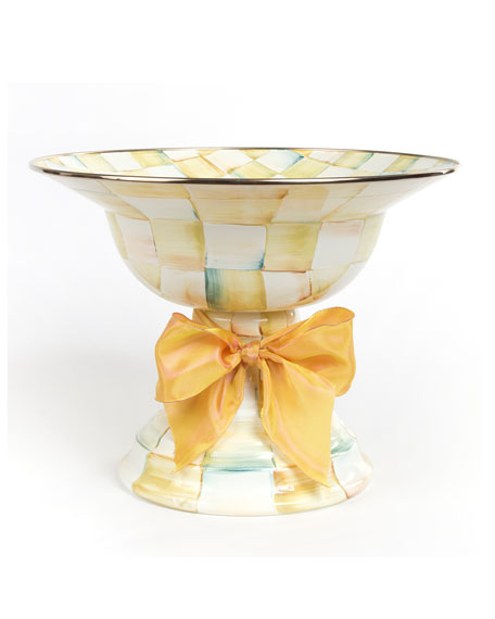 MacKenzie-Childs Large Parchment Check Compote