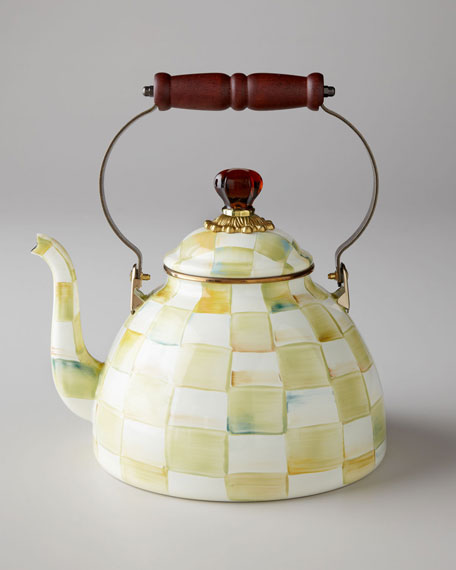MacKenzie-Childs Parchment Check Tea Kettle & Matching Items