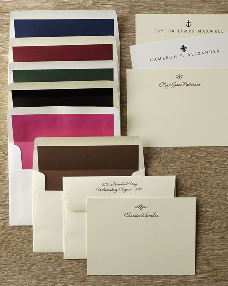 50 Motif Correspondence Cards with Personalized Unlined Envelopes