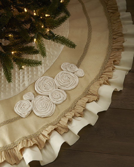 Ivory Christmas Tree Skirt with Ruffles