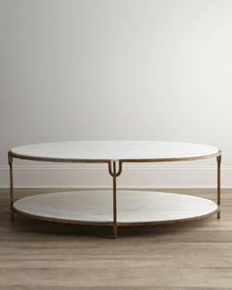 "Global Views ""Olivia"" Marble-Top Coffee Table"