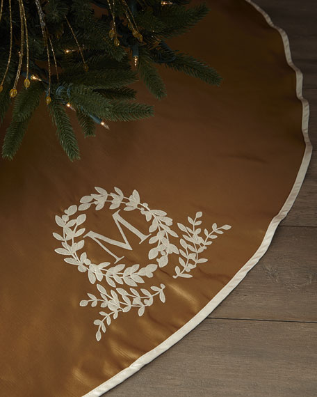 Monogram Initial Christmas Tree Skirt