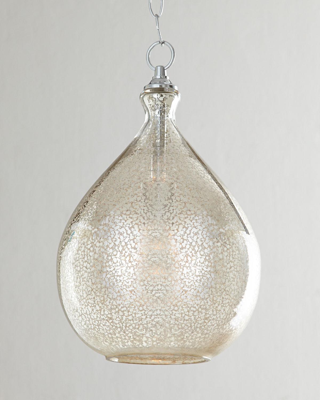 Mercury glass 1 light pendant