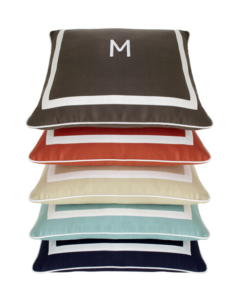 """Sunnyside"" Mitered-Border Pillow with Monogram"