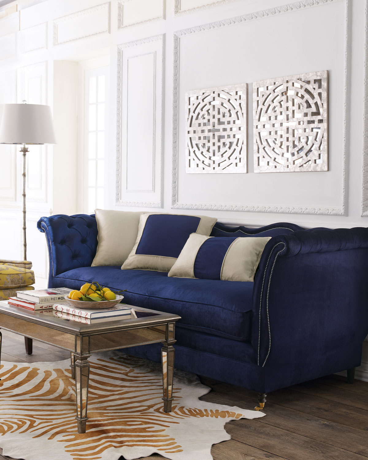 Horton Navy Velvet Tufted Sofa 90\