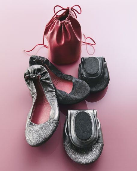 Glitter-Toe Ballet Travel Flats