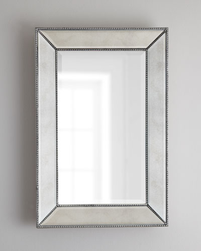 "Beaded Wall Mirror, 24""W"