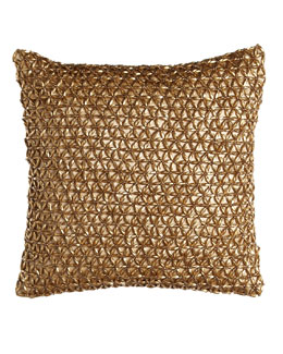 "Donna Karan Home ""Glimmer Star"" 12"" Sq. Pillow, Gold Leaf"